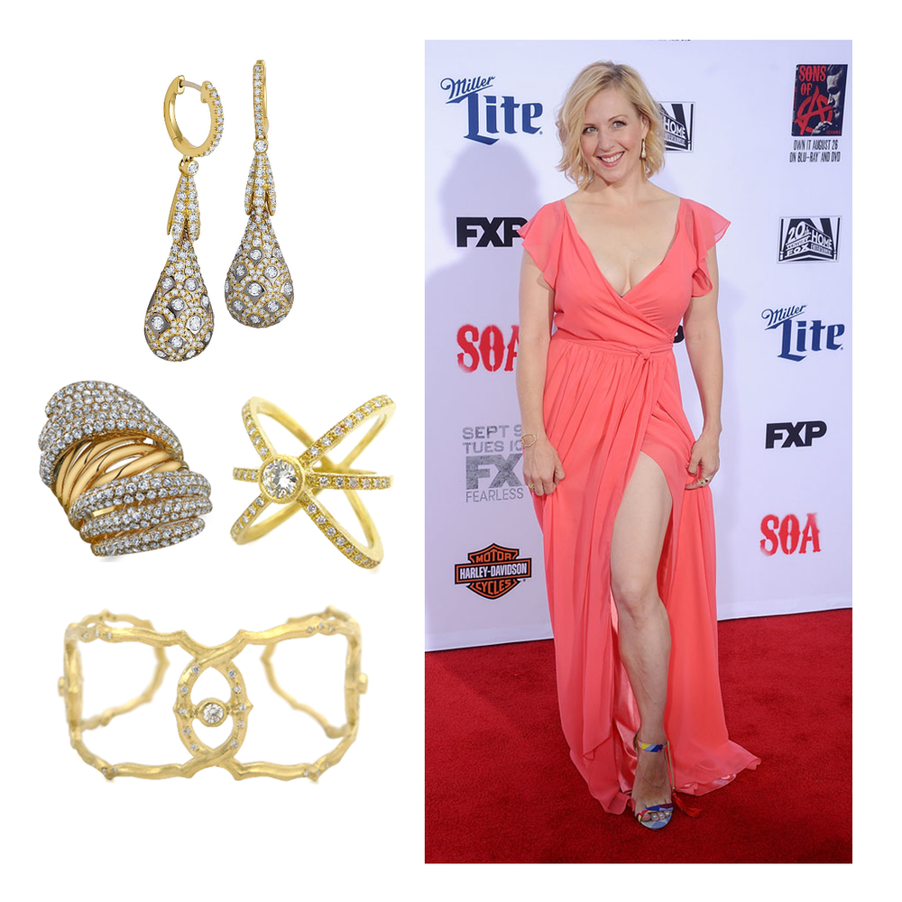 """Marya Delver of """"Sons of Anarchy"""", stunned in a beautiful bright gown and dripped in Sylvie Collection, Supreme Jewelry and Daniel Gibbings jewels at the red carpet season premiere!"""
