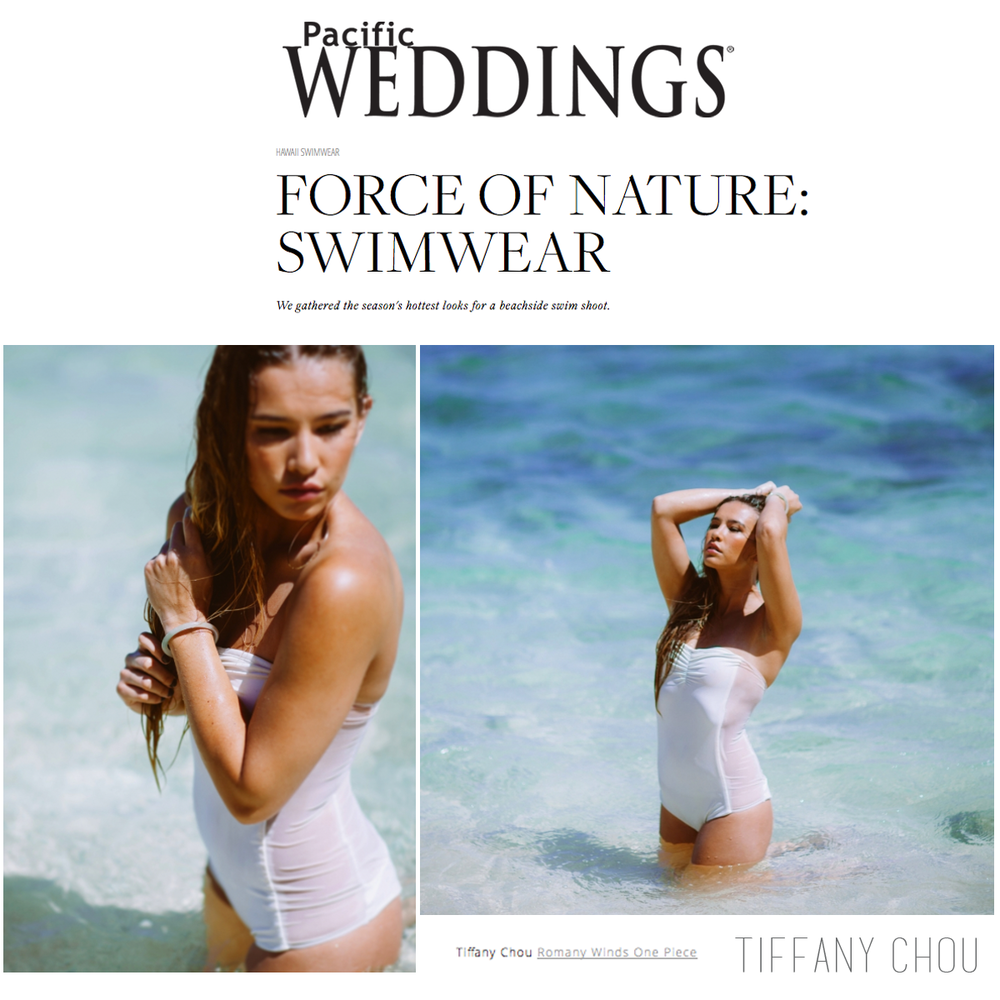 """This one-piece swimsuit by Tiffany Chou is beautiful! Check it out on Pacific Weddings""""Love Notes"""" blog in their """"Force of Nature: Swimwear"""" editorial shoot!"""