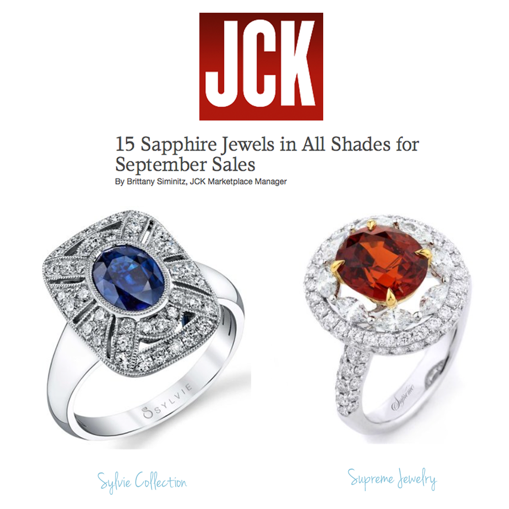 We love September's Sapphire birthstone! Aren't these Sapphire rings by Sylvie Collection and Supreme Jewelry stunning?! Thanks JCK for featuring!