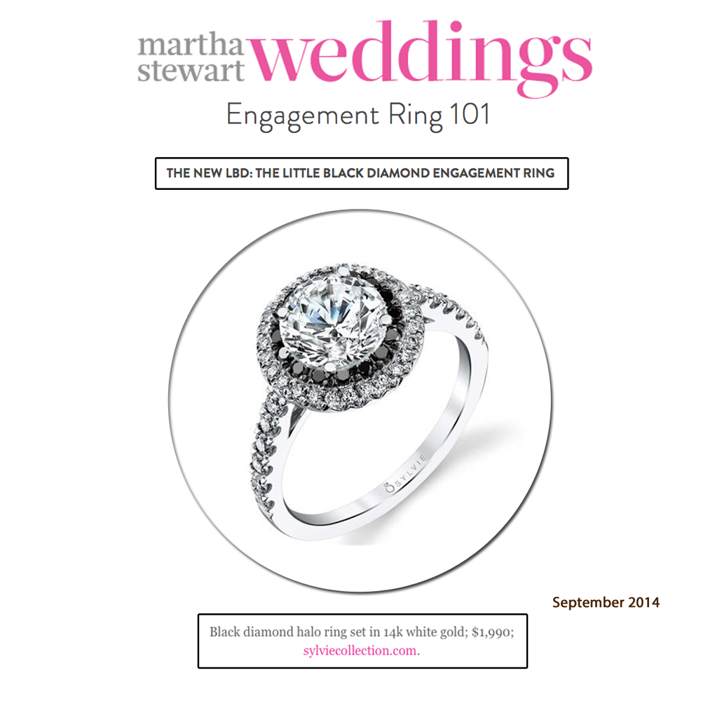 The New LBD: Sylvie Collection's beautiful Black Diamond Halo ring featured onMartha Stewart Weddings slideshow!