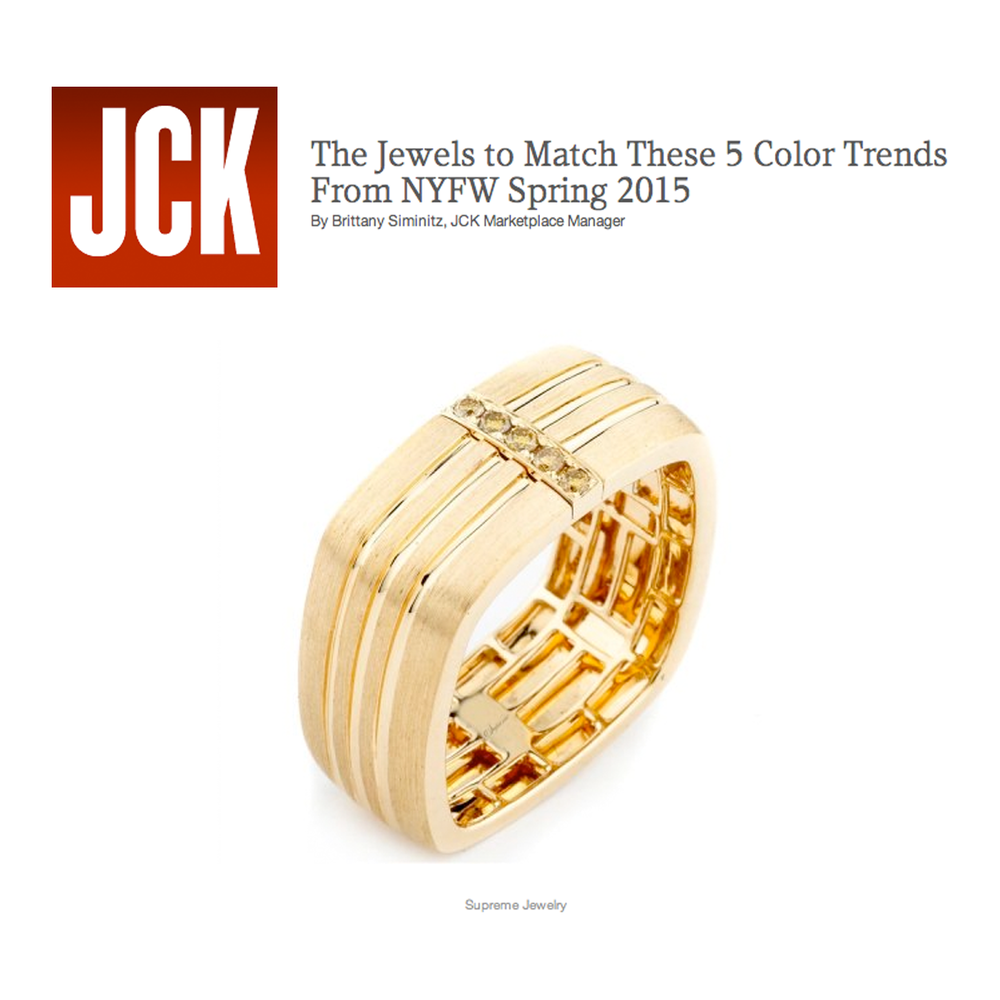 """JCK loves Supreme Jewelry! Check out this men's band in """"The Jewels to Match These 5 Color Trends From NYFW Spring 2015"""" story."""
