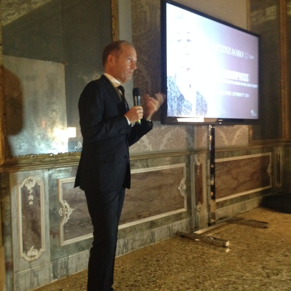 Executive Director, Corrado Facco at the Press Conference in Venezia.