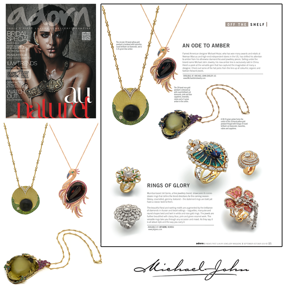 We LOVE Amber jewels! Check out these amazing Michael John Jewelry Amber pieces in the Fall 2014 issue of Adorn Magazine!