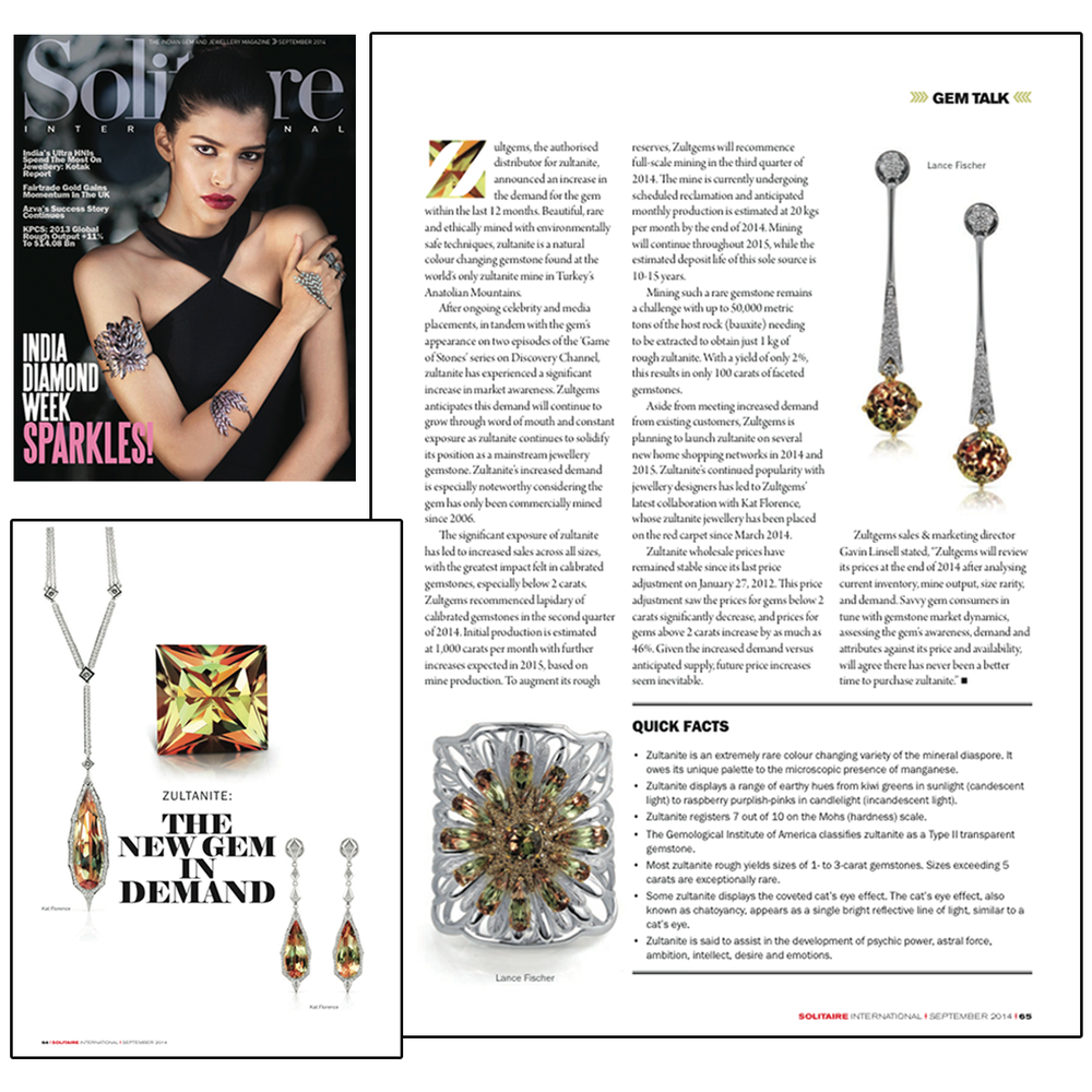 Gem talk with Solitaire Magazine! Thanks for this great editorial spread on Zultanite®, featuring Lance Fischer and Kat Florence.