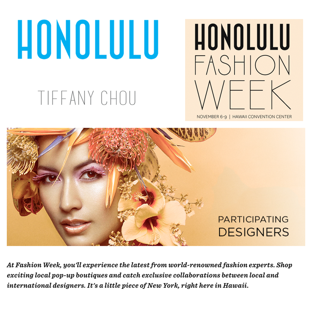 We're so excited for the FIRST-EVER Honolulu Fashion Week! Tiffany Chou will be showcasing her jewels in the pop-up and runway shows! Here's a sneak peekon Honolulu Magazine online!