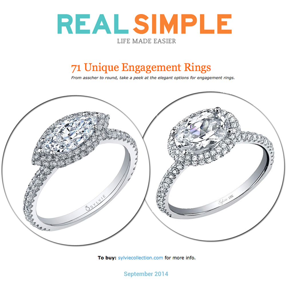 Thanks to Real Simple for featuring these STUNNING and unique Sylvie Collection engagement rings online!