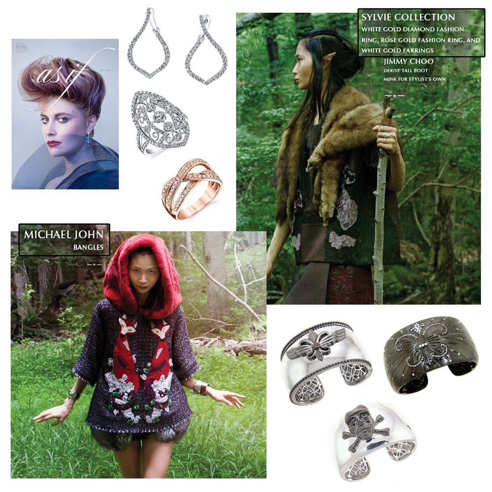 WOW! AS IF Magazine features Michael John Jewelry and Sylvie Collection in an amazing forest and mysterious editorial spread in the Fall issue!