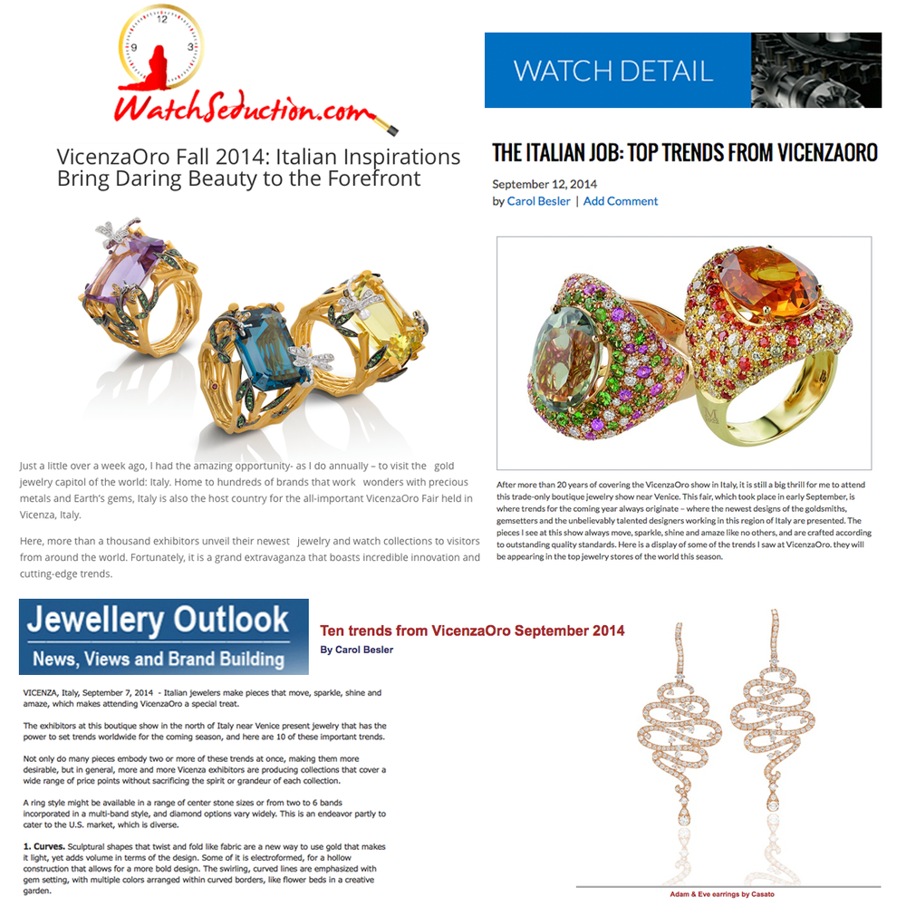 Editors, Roberta Naas and Carol Bessler featured the top trends during their trip to VICENZAORO on Watch Seduction, Watch Detail and Jewellery Outlook!