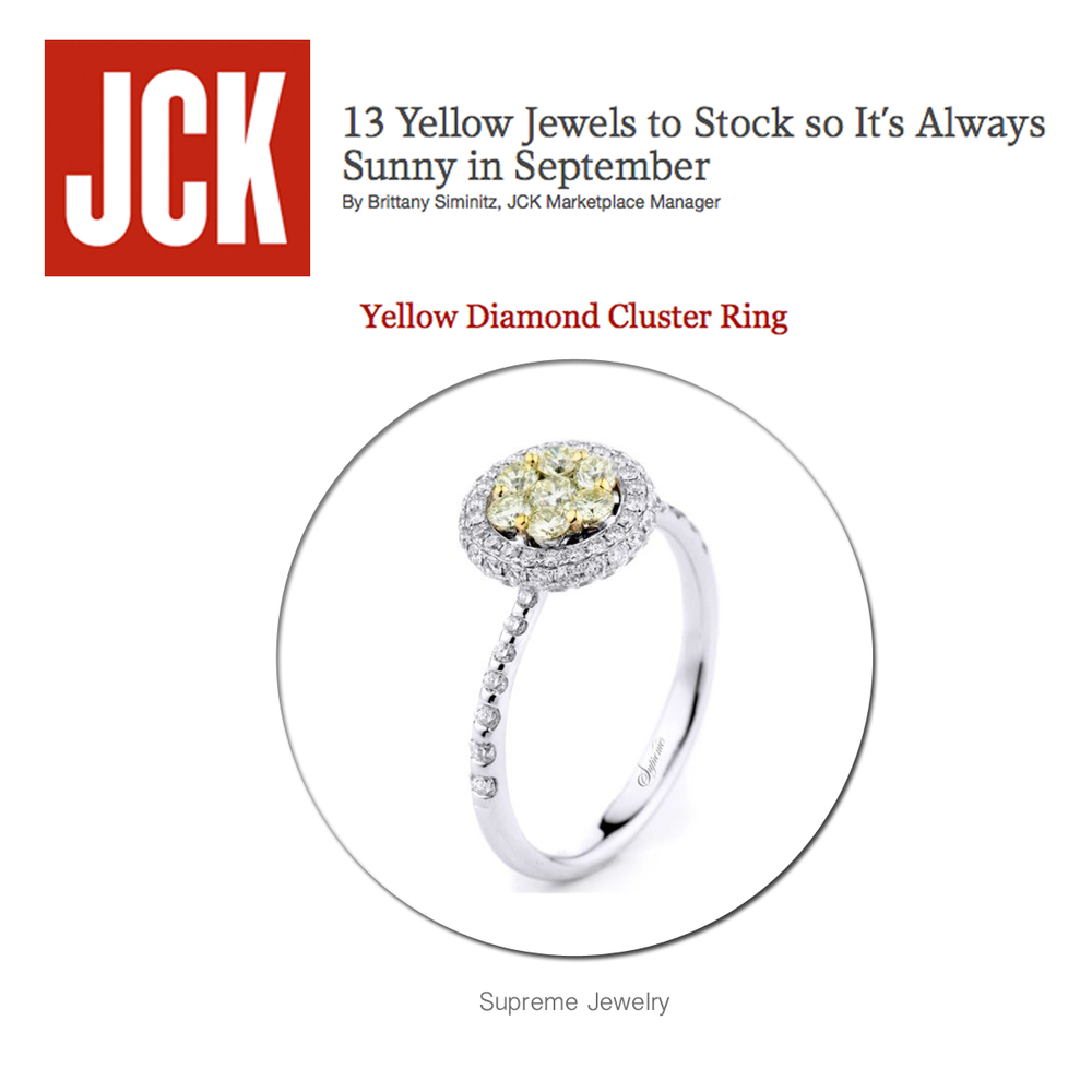 """Don't you just love this beautiful Supreme Jewelry ring featured in JCK's """"13 Yellow Jewels to Stock so It's Always Sunny in September"""" article?!"""