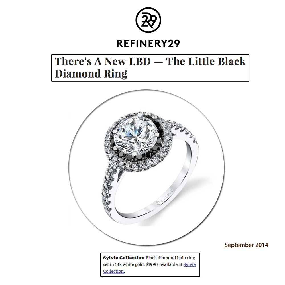 There's a new LBD! This Sylvie Collection Black Diamond halo ring as seen on Refinery 29's trend article!