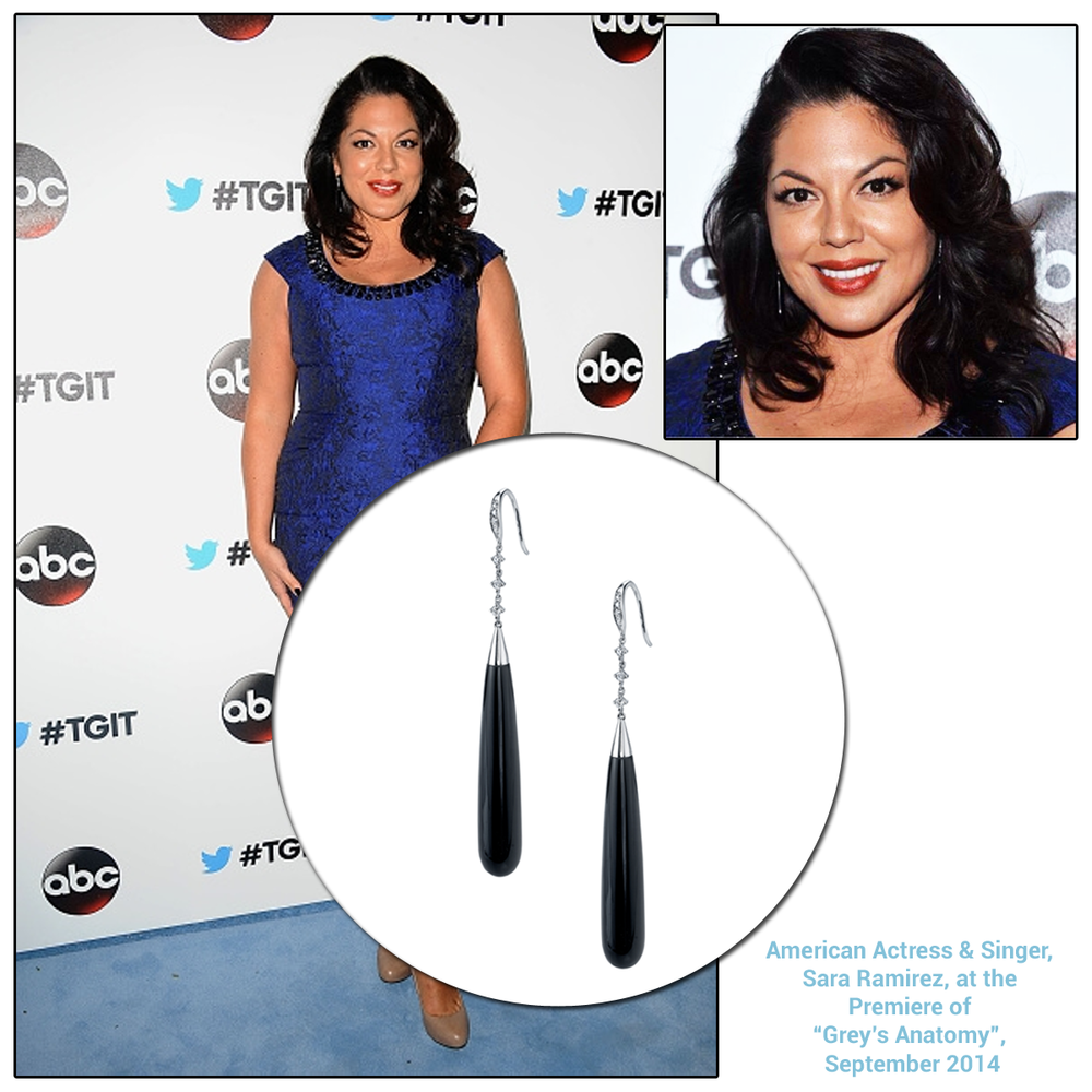 Actress and singer, Sara Ramirez looked exquisite in Sylvie Collection's Black Onyx earrings at the  #TGIT premiere party for Grey's Anatomy.