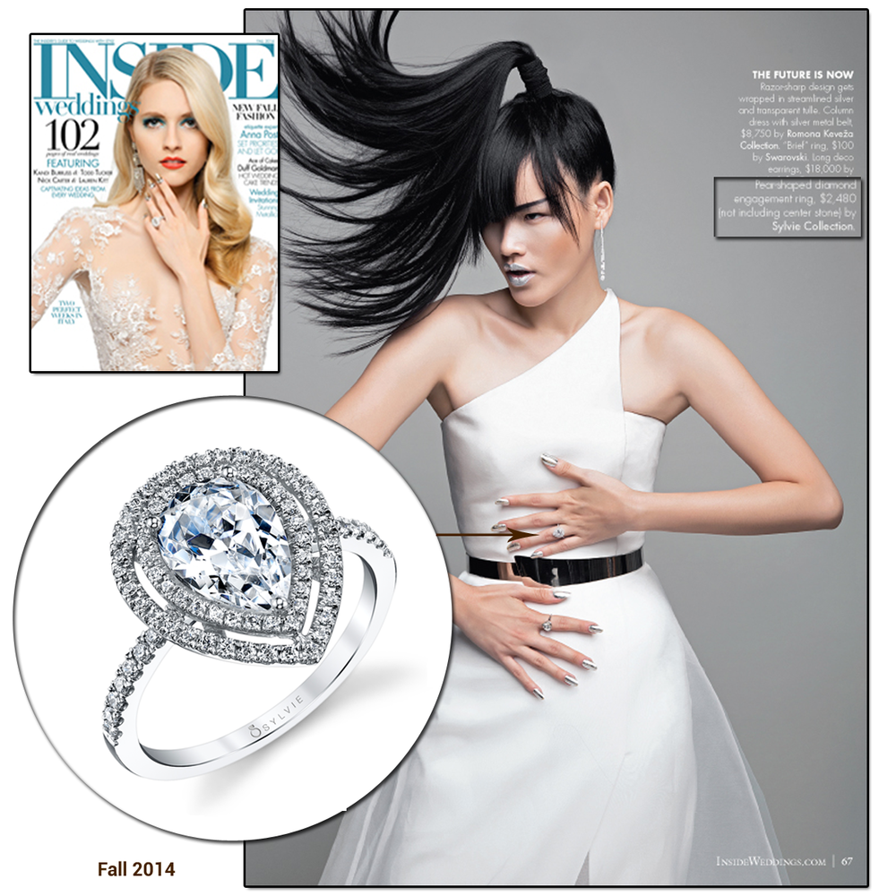 Futuristic glamour! Check out this Coast Diamond pear-shaped Diamond ring featured in this fierce editorial spread in Inside Weddings.
