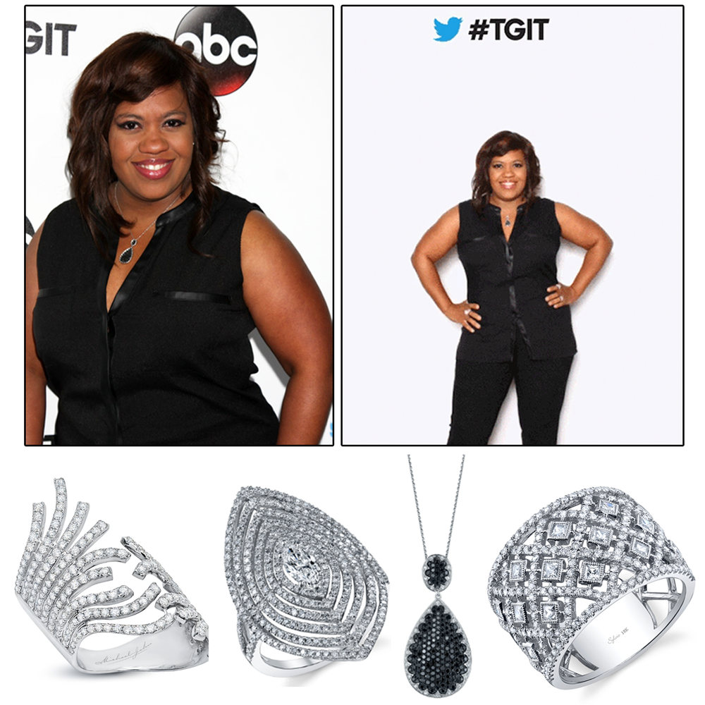 Another Grey's Anatomy star, Chandra Wilson, dripped in Michael John Jewelry and Sylvie Collection diamonds at the #TGIT premiere party for Grey's Anatomy.