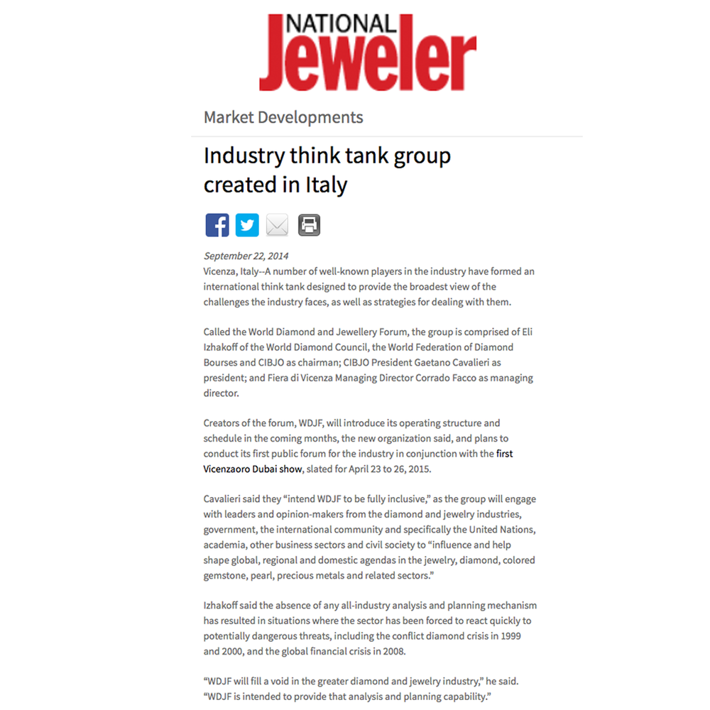 Thanks National Jeweler for featuring the news on the international think tank created in Italy.