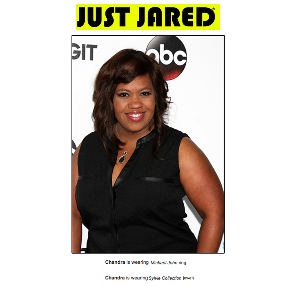 Thanks JustJared.com for featuring Chandra Wilson wearing Michael John Jewelry and Sylvie Collection jewels!