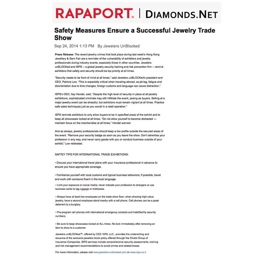 Check out Jewelers unBLOCKED's safety tips on Rapaport to ensure safety and security measures for international jewelry trade shows.