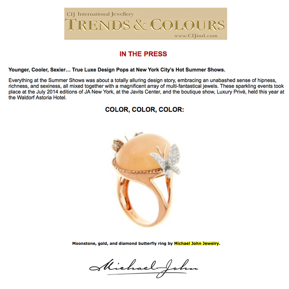 Check out this Moonstone butterfly ring by Michael John Jewelry that was featured in CIJ International Jewellery Trends and Colours trend story.