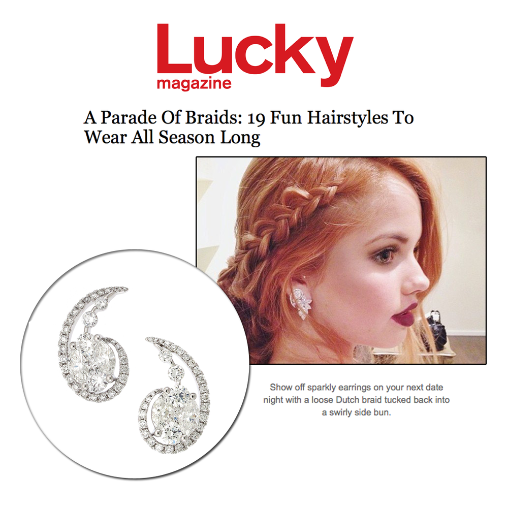 Lucky Magazine online features Actress, Debby Ryan wearing Supreme Jewelry's sparkly earrings in a braided hairstyle article!