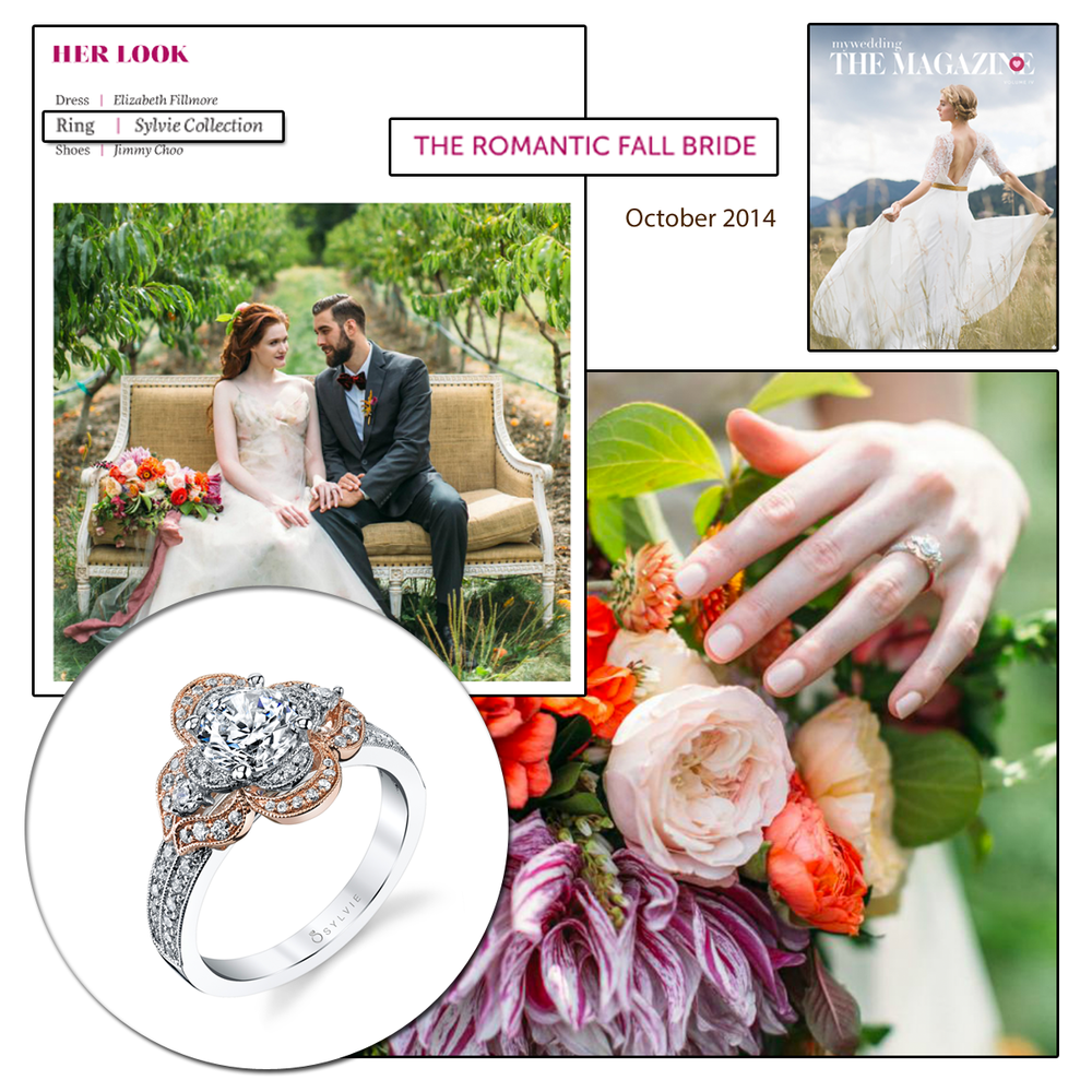 "We're in LOVE with this romantic editorial in MyWedding.com's ""The Magazine"" issue featuring Sylvie Collection's romantic designs. (above and below photo)"