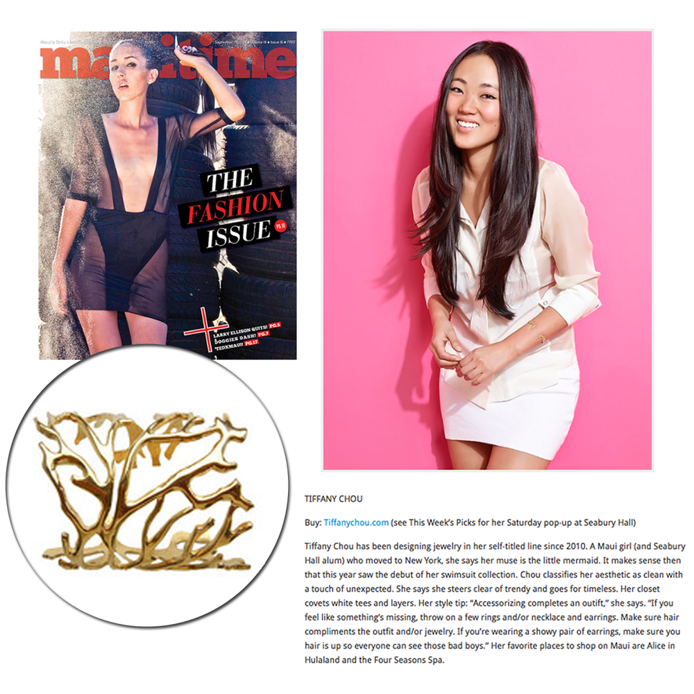 Mauitime Weekly did a one-on-one interview with jewelry and swimwear designer, Tiffany Chou, in their latest fashion issue!