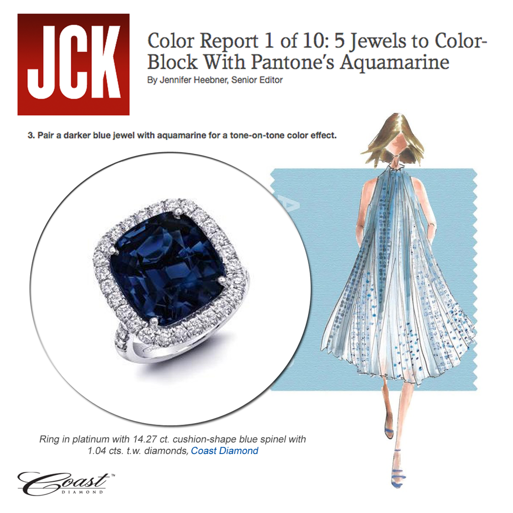 Don't you just want this Coast Diamond Aquamarine ring on your finger? Thanks JCK online for featuring in the Pantone color report article!