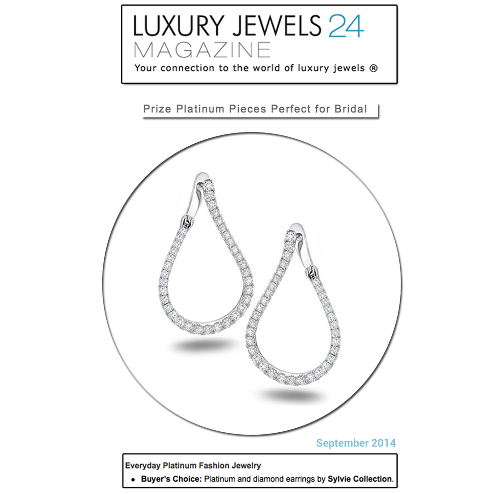 The perfect pair of earrings for your big day are these award-winning and beautiful Sylvie Collection Platinum and Diamond earrings. Thanks Luxury Jewels 24 Magazine for featuring!
