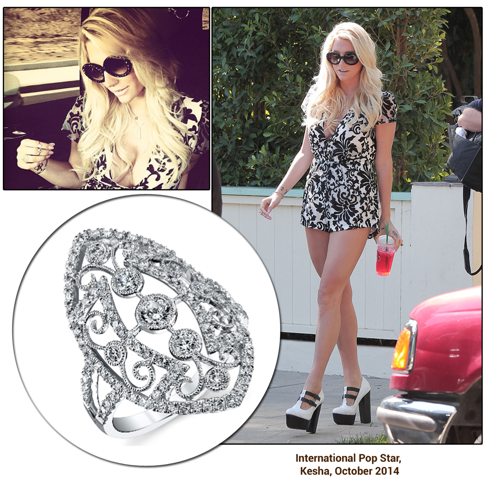 Pop star Kesha, was spotted out and about wearing a Sylvie Collection diamond ring! Don't you just LOVE her outfit?!