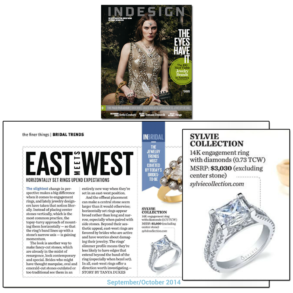 Trending Now: East West engagement rings! Don't you just love this Sylvie Collection Diamond ring in the Sept/Oct issue of INDESIGN?!