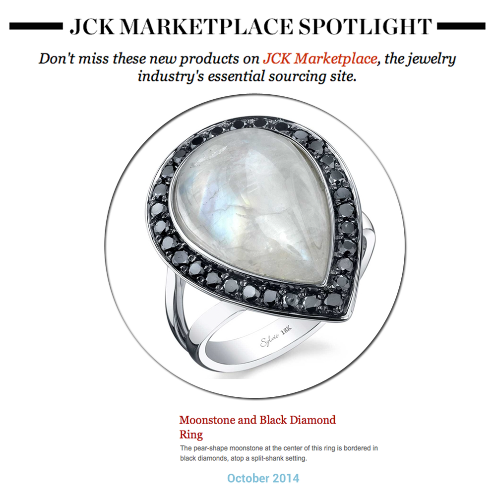 Jewelry of the week: This Moonstone and Black Diamond ring by Sylvie Collection featured in the JCK Marketplace newsletter!