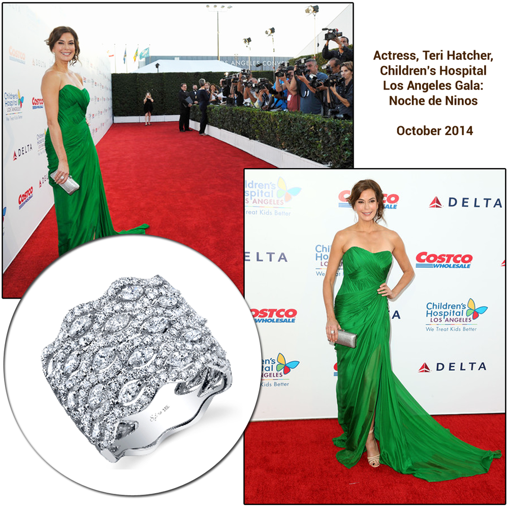 The lovely, Teri Hatcher, worked the red carpet at the Children's Hospital Los Angeles: Noche de Ninos event in a stunning emerald gown and a Sylvie Collection Diamond ring.
