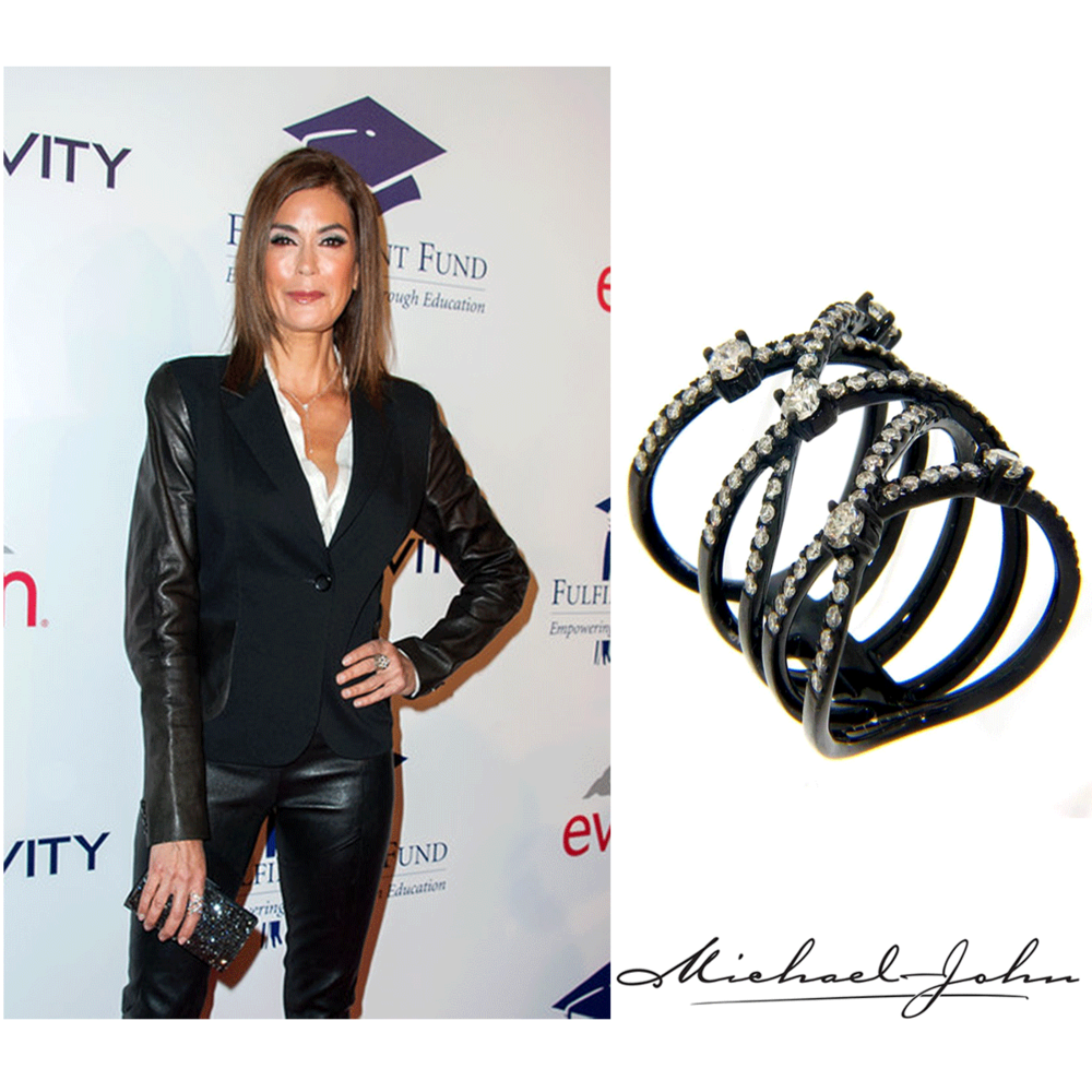 Teri Hatcher was also spotted at the Fullfillment Fund Stars Benefit Gala wearing a Michael John Jewelry Black Gold and Diamond ring.