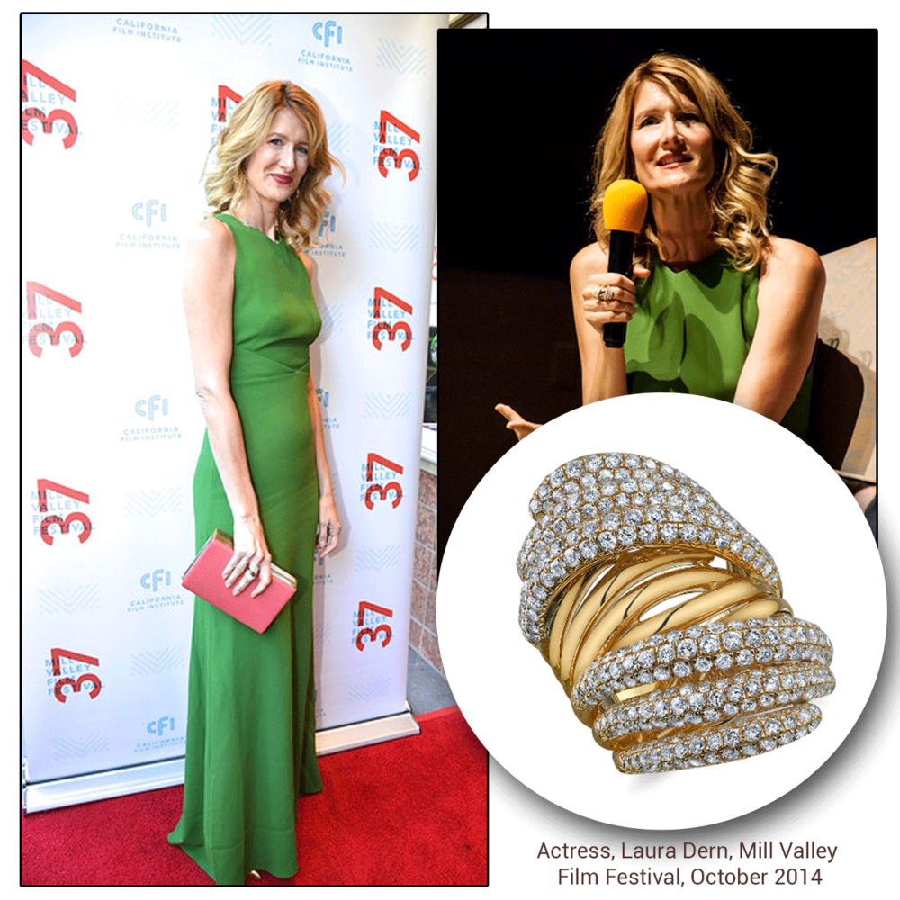 The beautiful, Laura Dern, wore a Sylvie Collection Diamond ring (above) on the red carpet at the Mill Valley Film Festival, and Supreme Jewelry earrings (below) to the Hampton's International Film Festival!