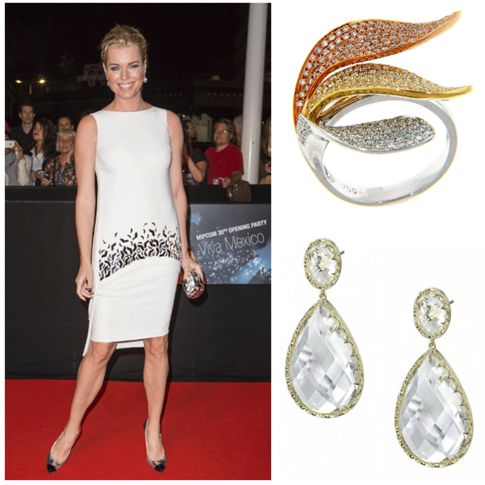 The exquisite, Rebecca Romijn, wore a Michael John Jewelry ring, and Sylvie Collection earrings to the MipCom event this week.