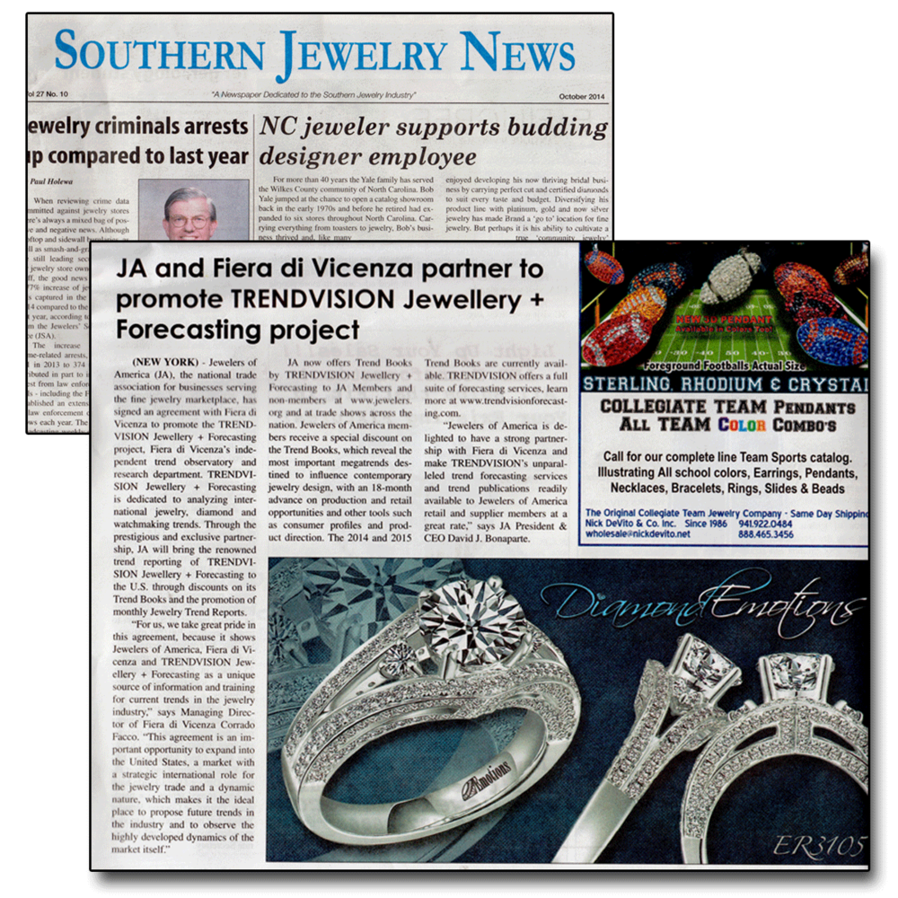 Southern Jewelry News features the news of Jewelers of America's partnership with Fiera di Vicenza!