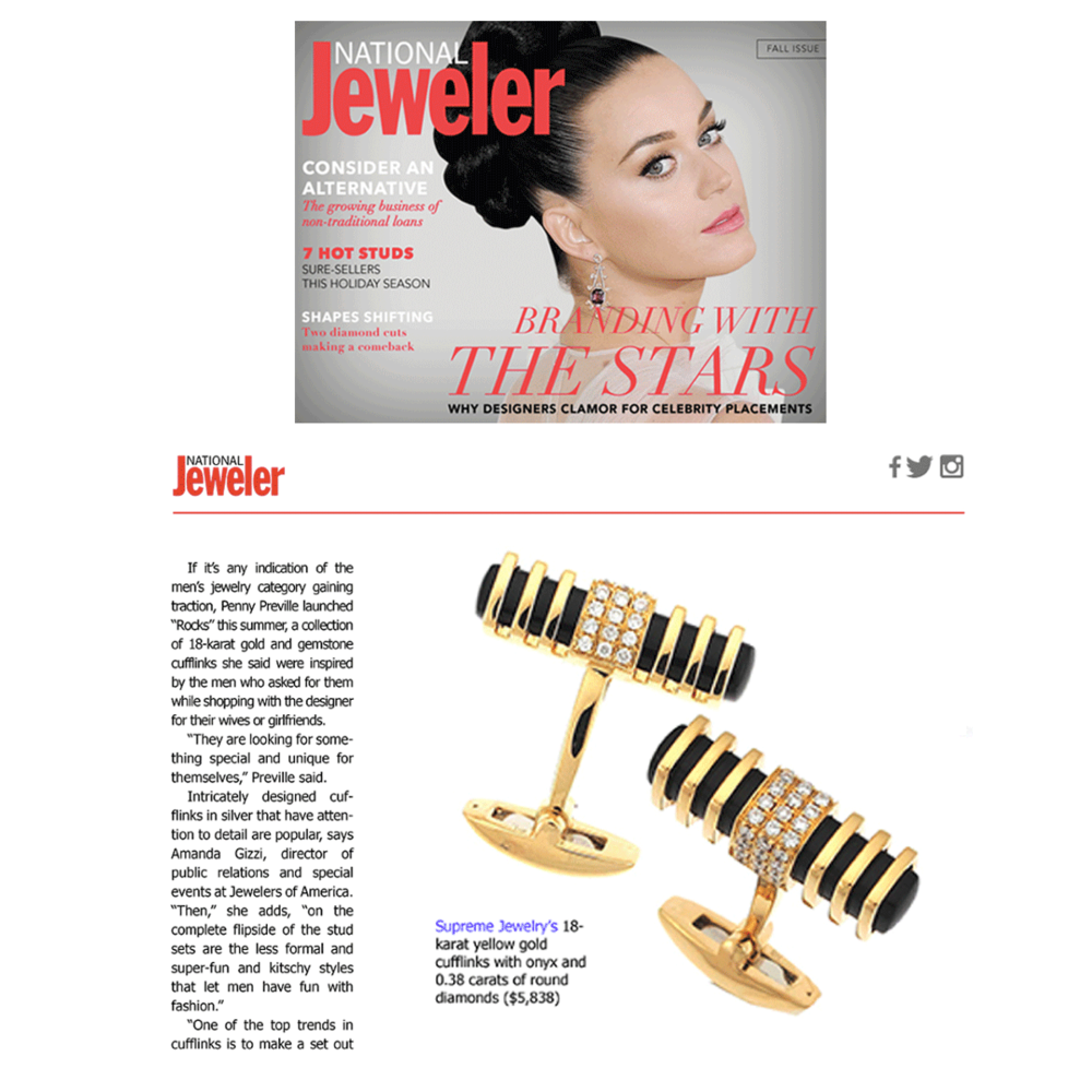 National Jeweler debuts their very FIRST NEW digital magazine! We're thrilled to see Supreme Jewelry's cufflinks (above) and LBG mentioned (below) in their first fall issue!
