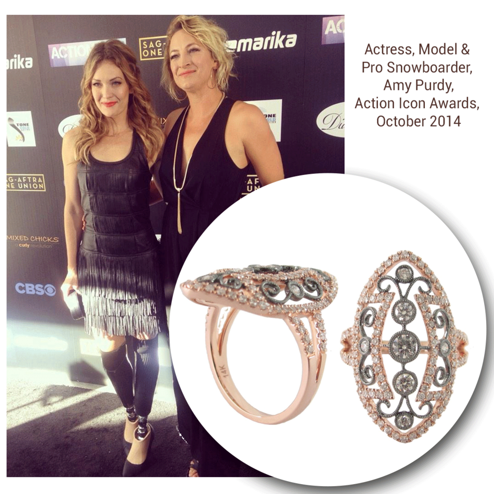 The inspirational, Amy Purdy, wore a Sylvie Collection ring to the Action Icon Awards where she was honored!