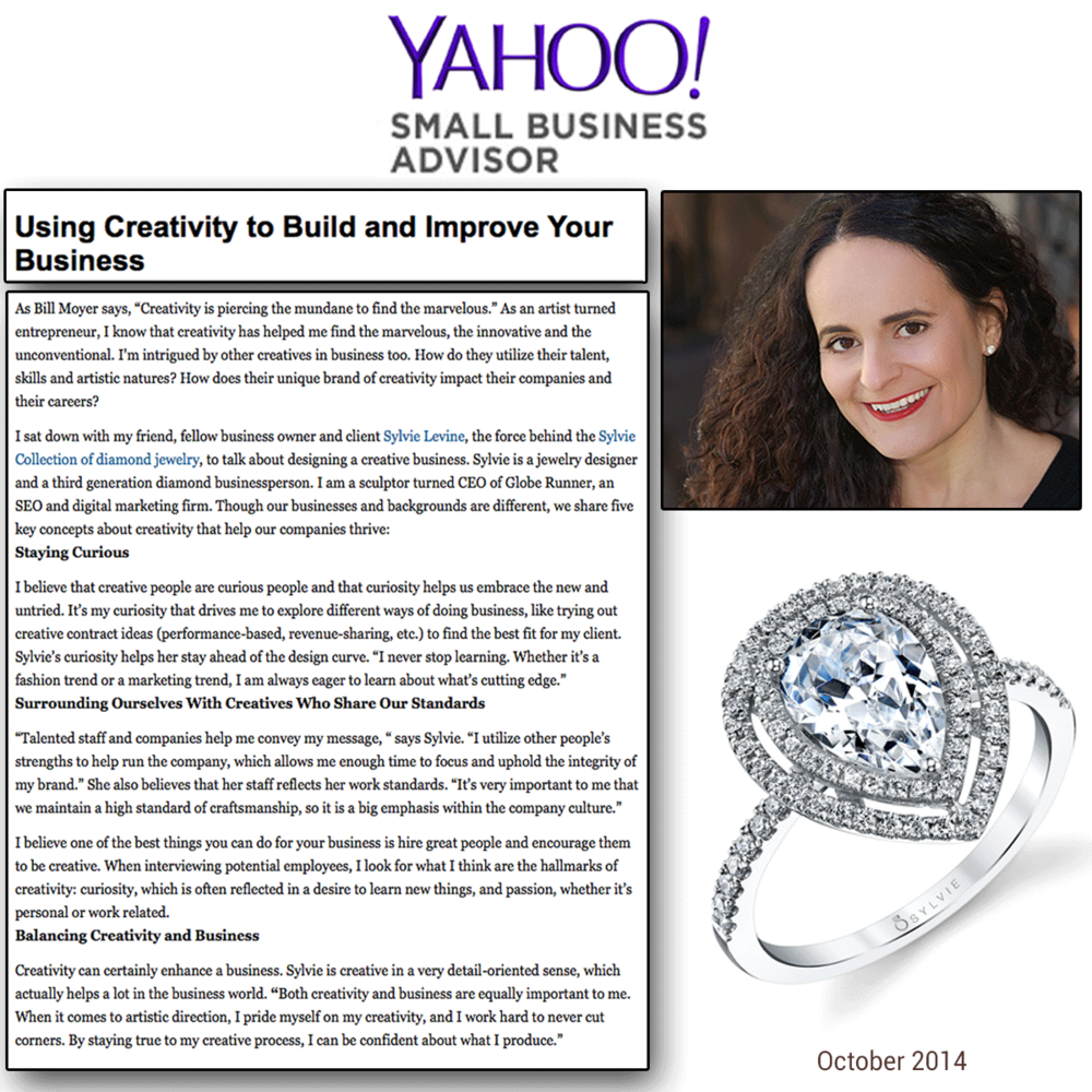 """Yahoo! Small Business Advisor(above) and FOX Small Business Center (below) features Sylvie Collection's designer and CEO, Sylvie Levine, in an article entitled, """"Using Creativity to Build and Improve Your Business""""!"""