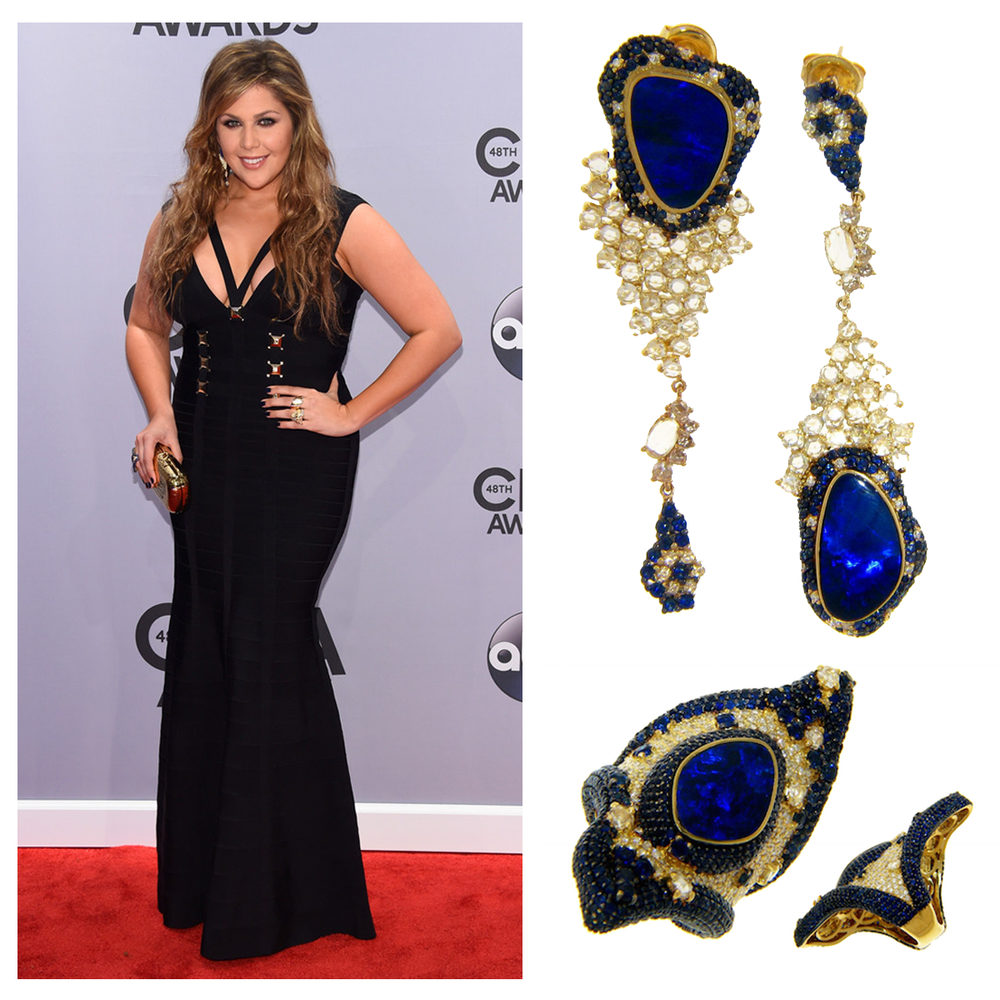 The stunning Hillary Scott of Lady Antebellum rocked Michael John Jewelry's Portofino Collection jewels to the Country Music Awards!