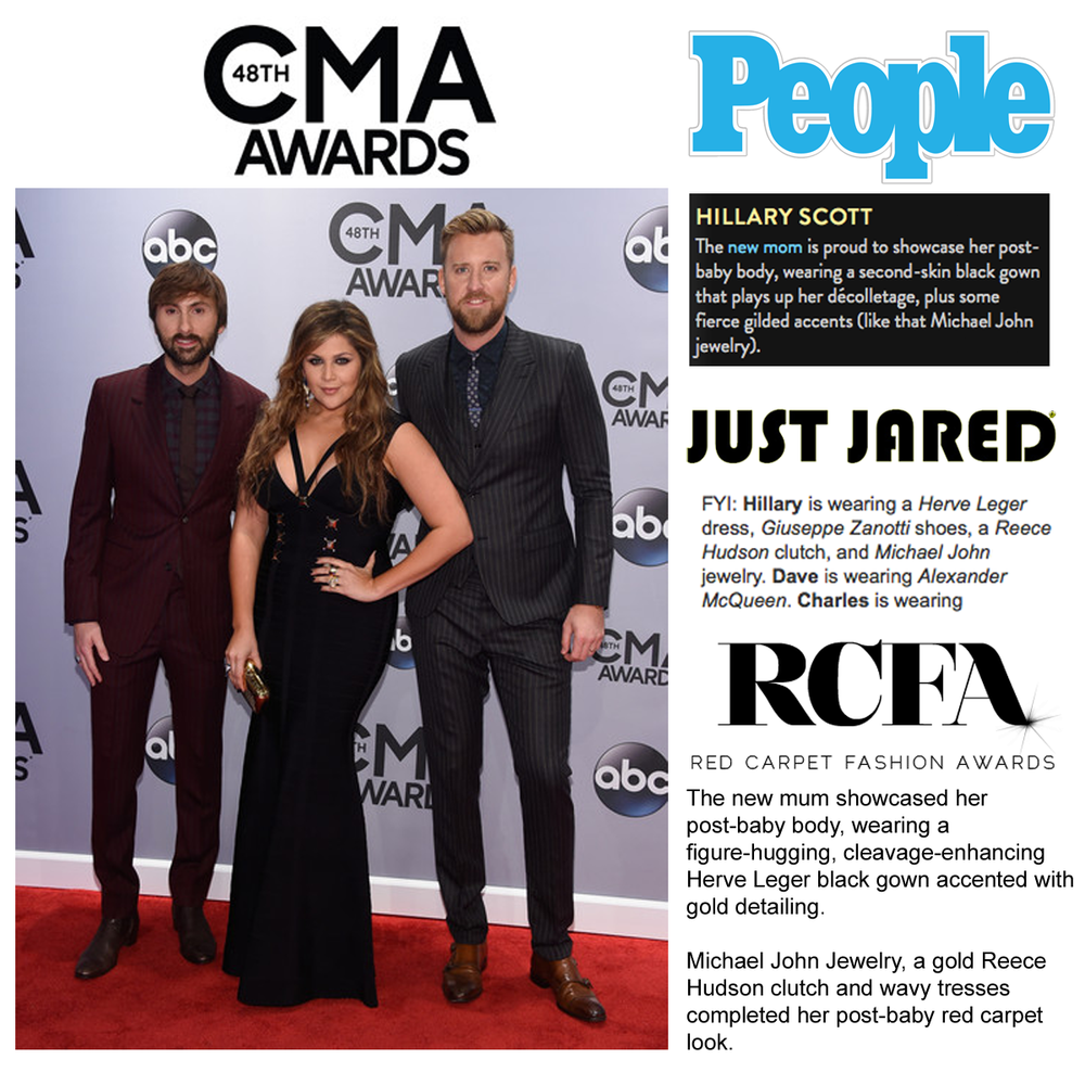 People.com, JustJared and RCFA featured Hillary Scott and her CMA look, which included bold jewels by Michael John Jewelry!