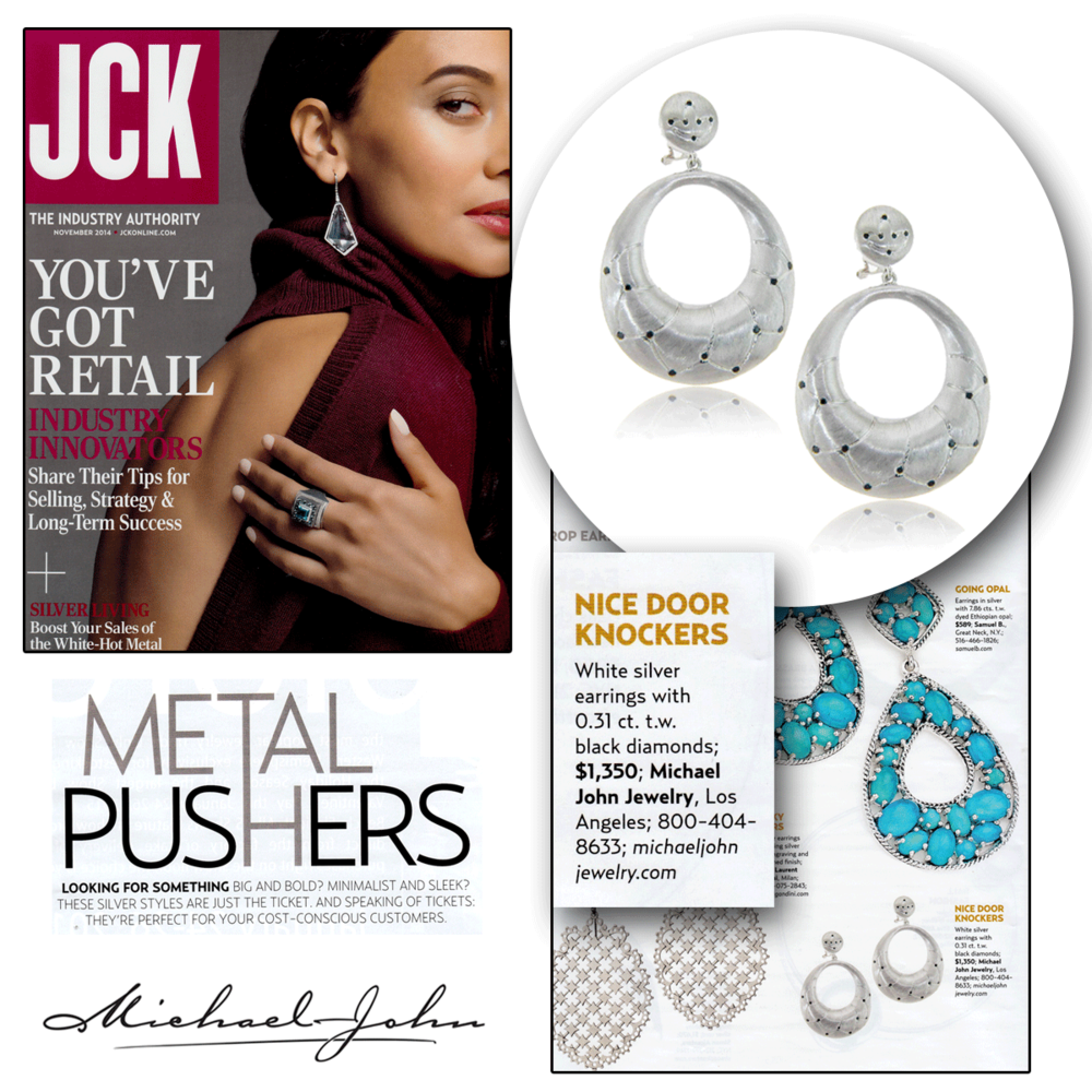 """JCK Magazine featured Michael John Jewelry's white silver earrings in the """"Metal Pushers"""" article in the November 2014 issue!"""