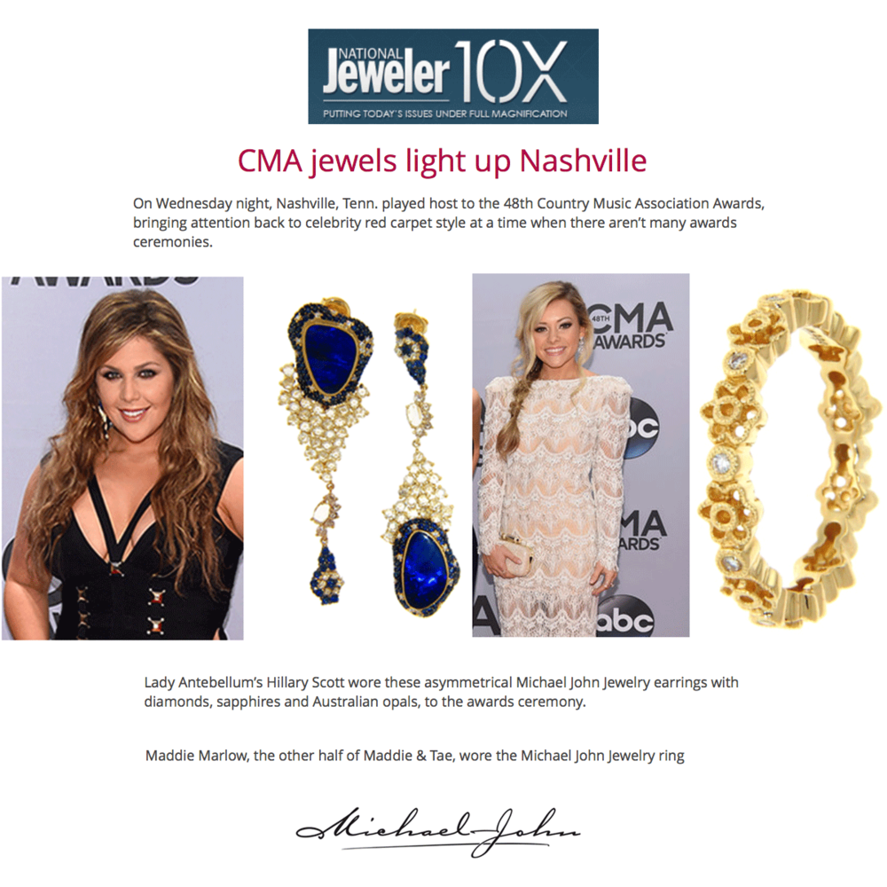 Thanks National Jeweler for featuring Michael John Jewelry, Supreme Jewelry and Sylvie Collection in the CMA red carpet recap. (Above and Below)