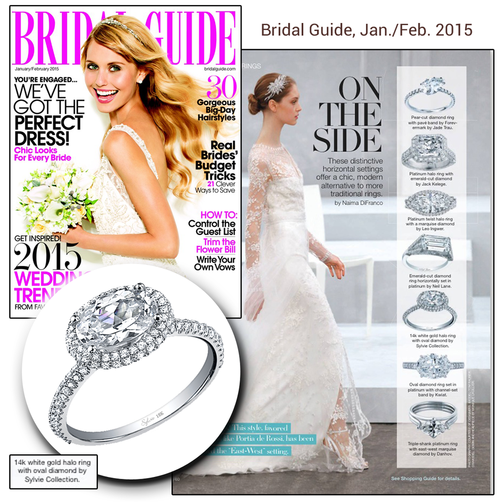 Amazing! Sylvie Collection and Jack Kelege engagement rings are featured in the Jan./Feb. 2015 issue of Bridal Guide.