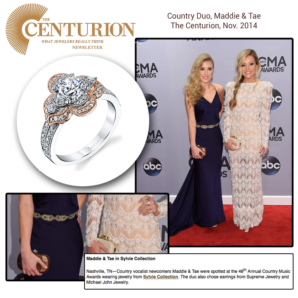 The press LOVES Sylvie Collection and Michael John Jewelry (below). They featured country star, Tae of Maddie and Tae and their gorgeous CMAAwards look!