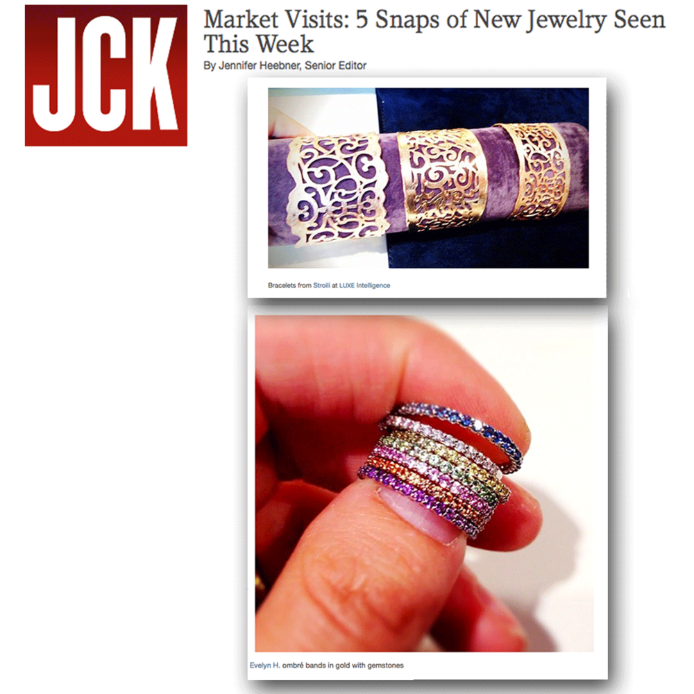 We're loving these new ombre bands by evelynH. Jewelry and bracelets by Stroili Oro! Thanks JCK Magazine for featuring!