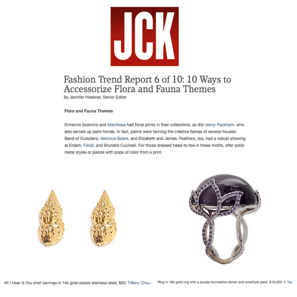 JCK Magazine Trend Report: Tiffany Chou and V.Tse's jewels are right on trend!