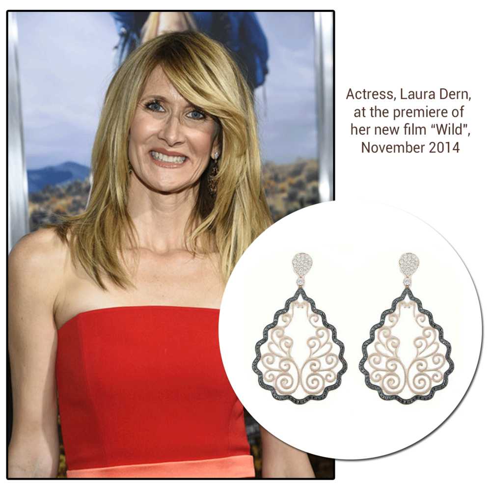 """Beautiful actress, Laura Dern, was dripping in Diamonds this week. She wore Sylvie Collection earrings to the premiere of her new film, Wild (above), a Sylvie Collection ring to the 18th Annual Hollywood Film Awards (below), and Supreme Jewelry earrings to AARP's 2nd Annual """"Movies for Grownups"""" Film Showcase (below)."""