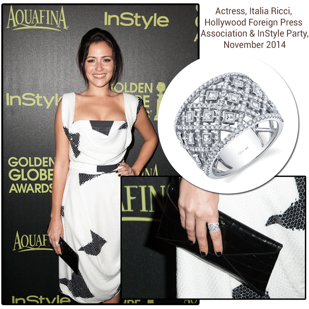 Actress, Italia Ricci, looked amazing at the Hollywood Foreign Press Association and Instyle party wearing a beautiful Sylvie Collection Diamond ring.