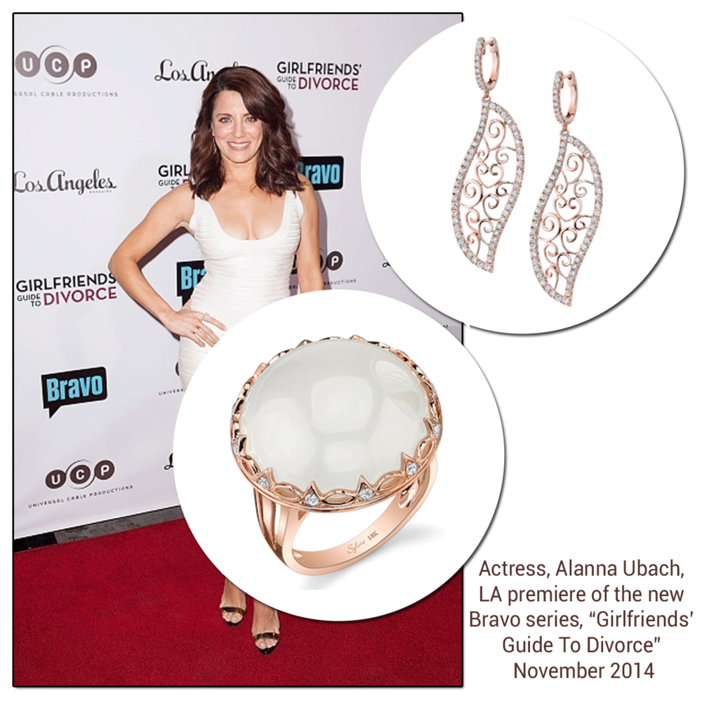 """Actress, Alanna Ubach, worked the red carpet in Sylvie Collection jewels at the LA premiere of the new Bravo series, """"Girlfriends' Guide To Divorce""""."""