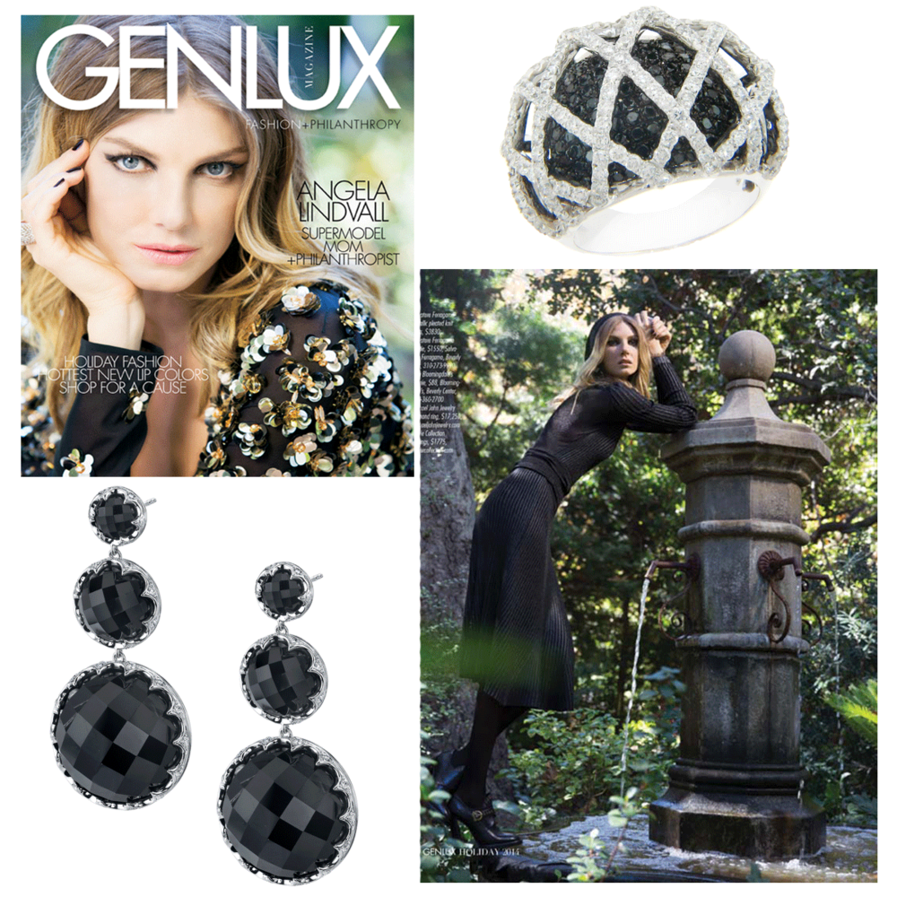 Supermodel, mom and philanthropist, Angela Lindvall, looks absolutely stunning in the Holiday 2014 editorial of Genlux Magazine wearing a Michael John Jewelry ring and Sylvie Collection earrings.