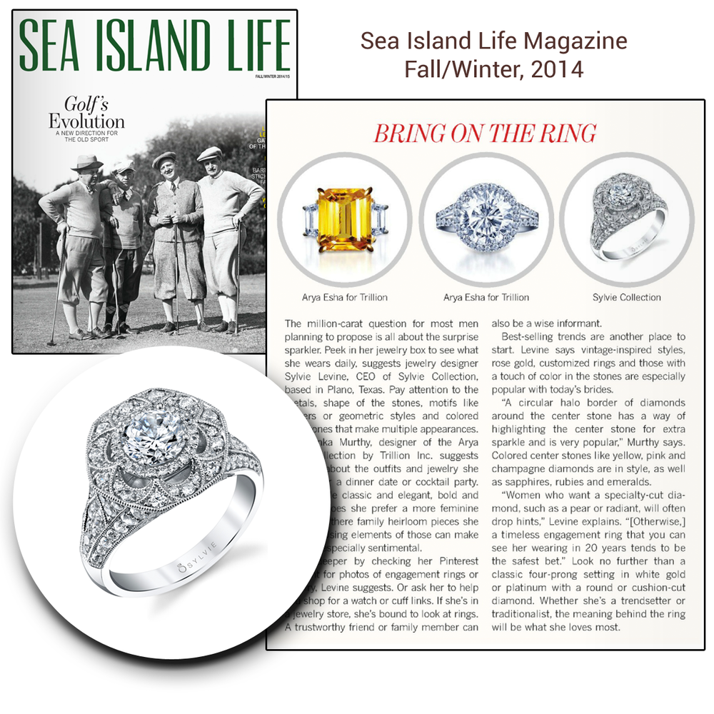 Spotted: Sylvie Collection's Diamond ring in Sea Life Magazine's Fall/Winter 2014 issue.
